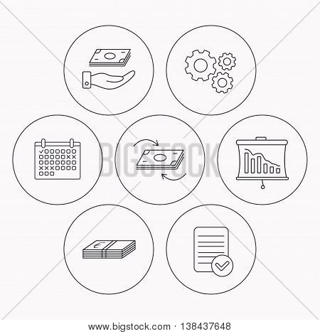 Banking, cash money and statistics icons. Money flow, save money linear sign. Check file, calendar and cogwheel icons. Vector