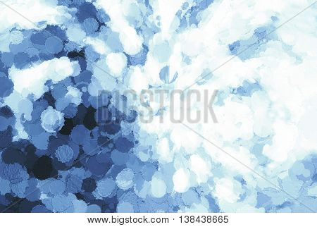 Horizontal Pale Cyan Blue Blots On Canvas Illustration