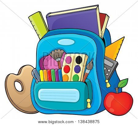 Schoolbag theme image 1 - eps10 vector illustration.