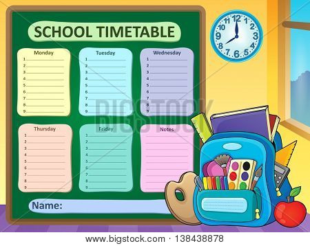 Weekly school timetable composition 6 - eps10 vector illustration.