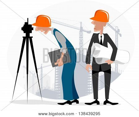 Vector illustration image of a surveyor and engineer
