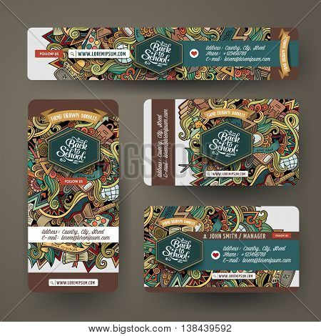 Cartoon cute colorful vector hand drawn doodles school corporate identity set. Templates design of banners, id cards, flyer