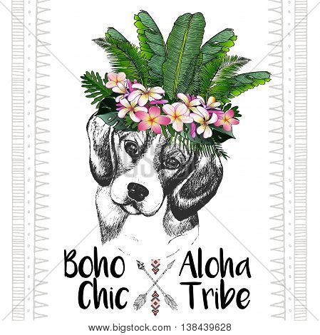Vector close up portrait of beagle wearing the exotic flower crown. Hand drawn domestic dog illustration. Tropical Hawaiian boho chic decoration with palm leaves and flowers. Aloha tribe