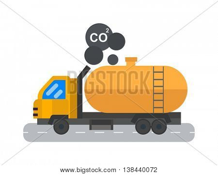 Oil logistic petroleum transportation tank car vector illustration.