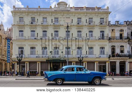 HAVANA, CUBA - MARCH 17, 2016: The historic Hotel Inglaterra near Central Park in Havana the capital of Cuba