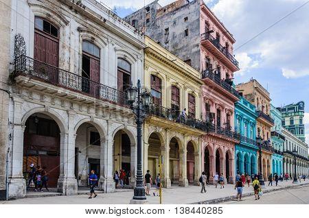 HAVANA, CUBA - MARCH 17, 2016: Colorful houses near Capitolio in Havana the capital of Cuba