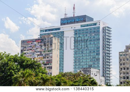 HAVANA, CUBA - MARCH 17, 2016: Habana Libre the hotel that was Castro's headquarters during the revolution in Havana the capital of Cuba