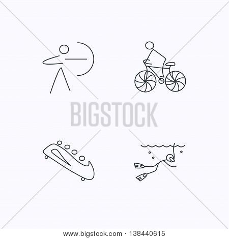 Diving, biking and archery icons. Bobsled linear sign. Flat linear icons on white background. Vector