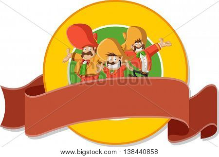 Vector banners and labels backgrounds with cartoon mexican mariachis with sombrero. Design text ribbons.