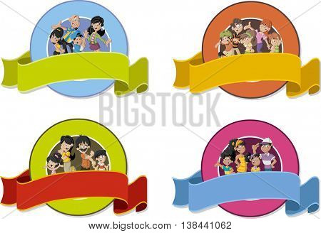 Vector banners and labels backgrounds with cartoon family. Design text ribbons.