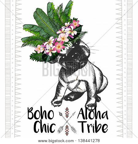 Vector close up portrait of french bulldog wearing the exotic flower crown. Hand drawn domestic dog illustration. Tropical Hawaiian boho chic decoration with palm leaves and flowers. Aloha tribe