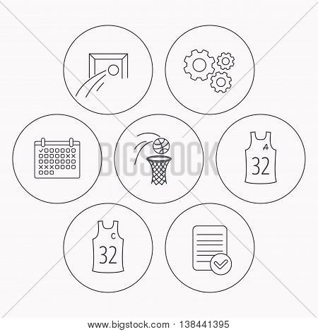 Football, basketball and team captain icons. Team assistant linear sign. Check file, calendar and cogwheel icons. Vector