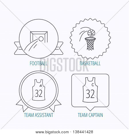 Football, basketball and team captain icons. Team assistant linear sign. Award medal, star label and speech bubble designs. Vector