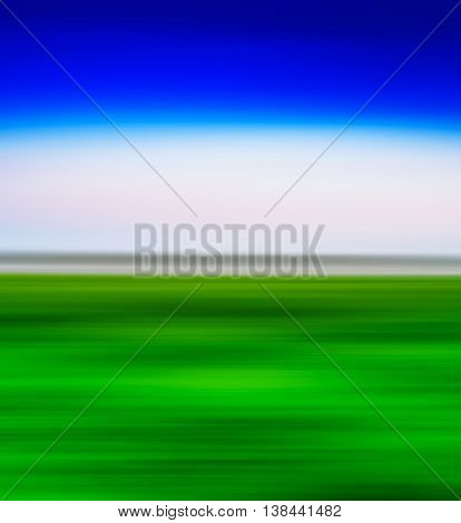 Square Vivid Green Landscape With Blue Sky  Motion Blur Abstract