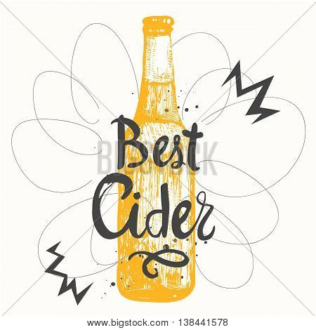 Drink Menu. Vector Illustration With Bottle Of Cider.