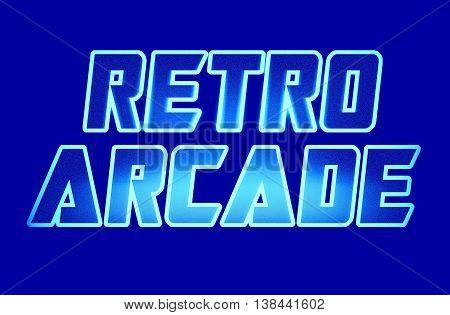 Horizontal Blue Retro Arcade Text Illustration Background