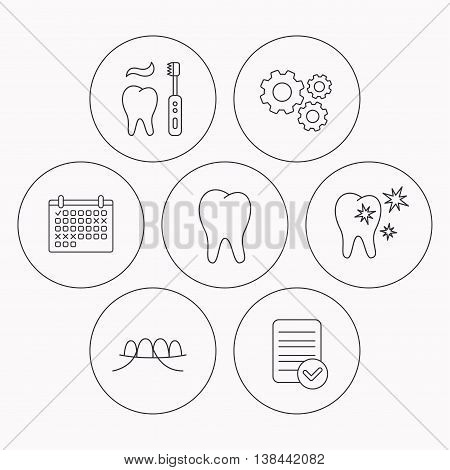Dental floss, tooth and healthy teeth icons. Brushing teeth linear sign. Check file, calendar and cogwheel icons. Vector