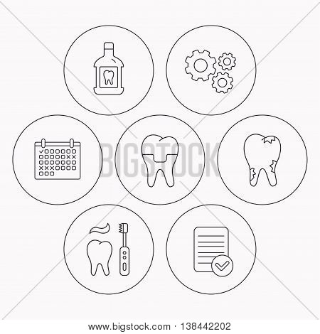 Caries, dental crown and mouthwash icons. Brushing teeth linear sign. Check file, calendar and cogwheel icons. Vector