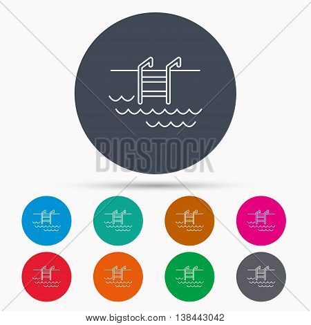 Swimming pool icon. Waves and stairs sign. Icons in colour circle buttons. Vector
