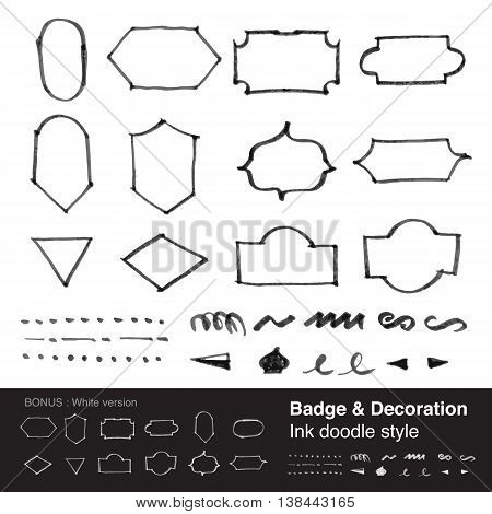 Vector : Badge & Decoration Item In Ink Style