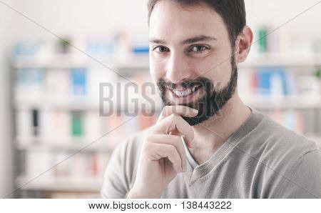 Confident Man With Hand On Chin