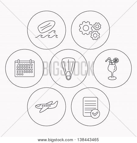 Surfboard, waves and cocktail icons. Flippers, airplane linear sign. Check file, calendar and cogwheel icons. Vector