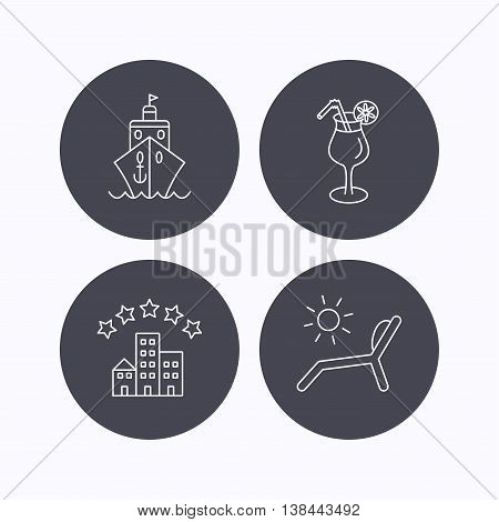 Cruise, waves and cocktail icons. Hotel, deck chair linear signs. Flat icons in circle buttons on white background. Vector