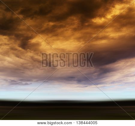 Square Orange Vivid Radiation Cloudscape Storm Motion Abstractio