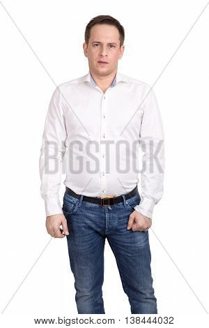 Adult Man In White Shirt And Blue Jeans Standing Isolated On White Background