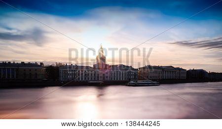 Horizontal Vivid Sunset Saint Petersburg Toy Bokeh Background