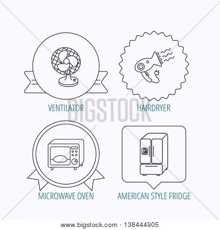 Microwave oven, hair dryer and ventilator icons. American style refrigerator linear sign. Award medal, star label and speech bubble designs. Vector