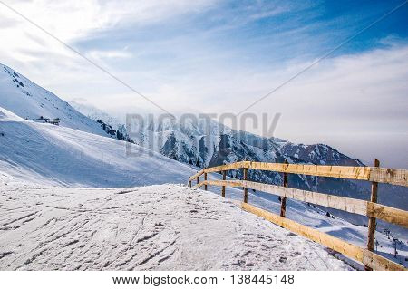 Shymbulak ski resort, mountains in winter, Kazakhstan