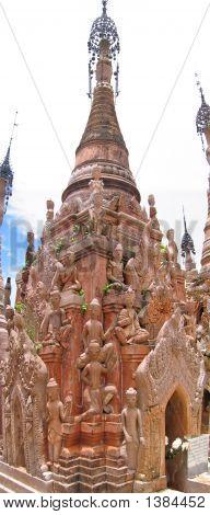 Detail Of A Birman Stupa With Many Nats And Buddhas, Kakku, Myanmar