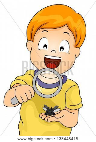Illustration of a Little Boy Observing a Rhinoceros Beetle