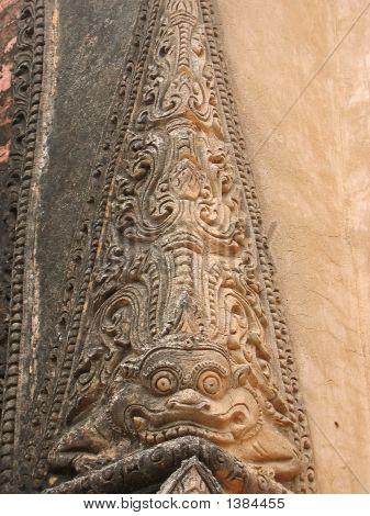 Detail Of Paya Architecture With A Dragon, Bagan, Myanmar