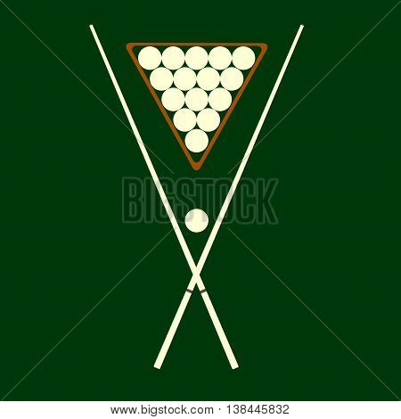 cue and billiard balls on a green background
