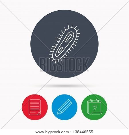 Bacteria icon. Medicine infection symbol. Bacterium or microbe sign. Calendar, pencil or edit and document file signs. Vector