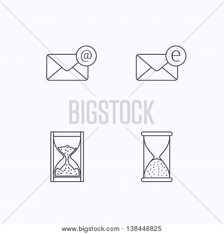 Mail, e-mail and hourglass icons. E-mail inbox linear sign. Flat linear icons on white background. Vector