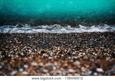Aqua Tidal Beach Pebble Shingle Vintage Film Composition