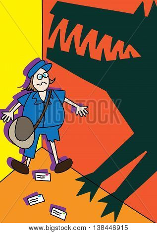 postman mailman beware of dog concept vector illustration