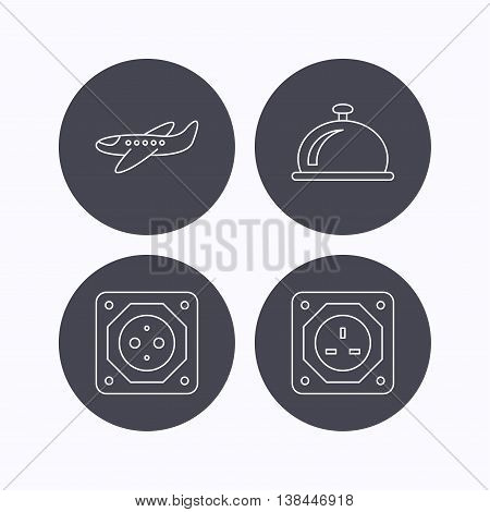 Air-plane, european socket and reception bell icons. UK socket linear sign. Flat icons in circle buttons on white background. Vector