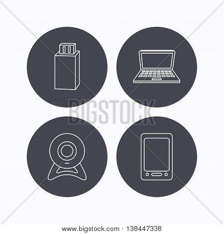 Web camera, USB flash and notebook laptop icons. Tablet PC linear sign. Flat icons in circle buttons on white background. Vector
