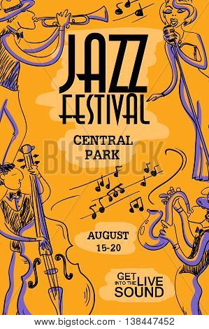 Musical creative poster with singer saxophone trumpet and contrabass players. Jazz festival design concept invitation.