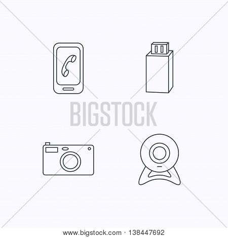 Photo camera, mobile phone and Usb flash icons. Web camera linear sign. Flat linear icons on white background. Vector