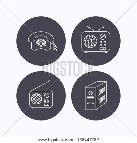 Radio, retro phone and pc case icons. Vintage radio linear sign. Flat icons in circle buttons on white background. Vector