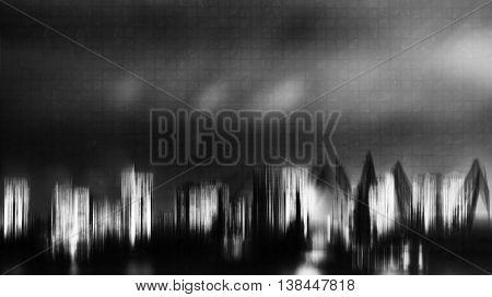 Horizontal Black And White Digital Neon Night City Port Abstract