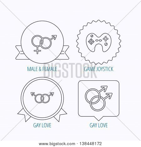 Gay, lesbian love and game joystick icons. Male, female linear sign. Award medal, star label and speech bubble designs. Vector