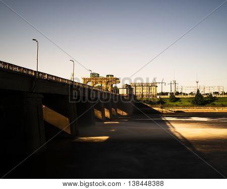 Horizontal dark industrial buildings landscape background backdrop