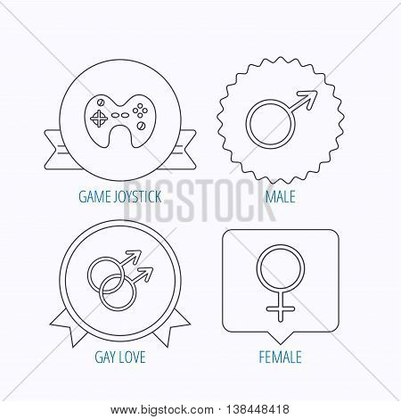 Male, female and game joystick icons. Gay love linear signs.  Award medal, star label and speech bubble designs. Vector