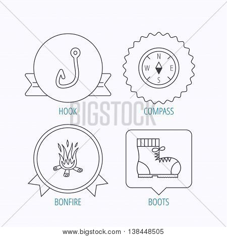 Fishing hook, compass and hiking boots icons. Bonfire linear sign. Award medal, star label and speech bubble designs. Vector